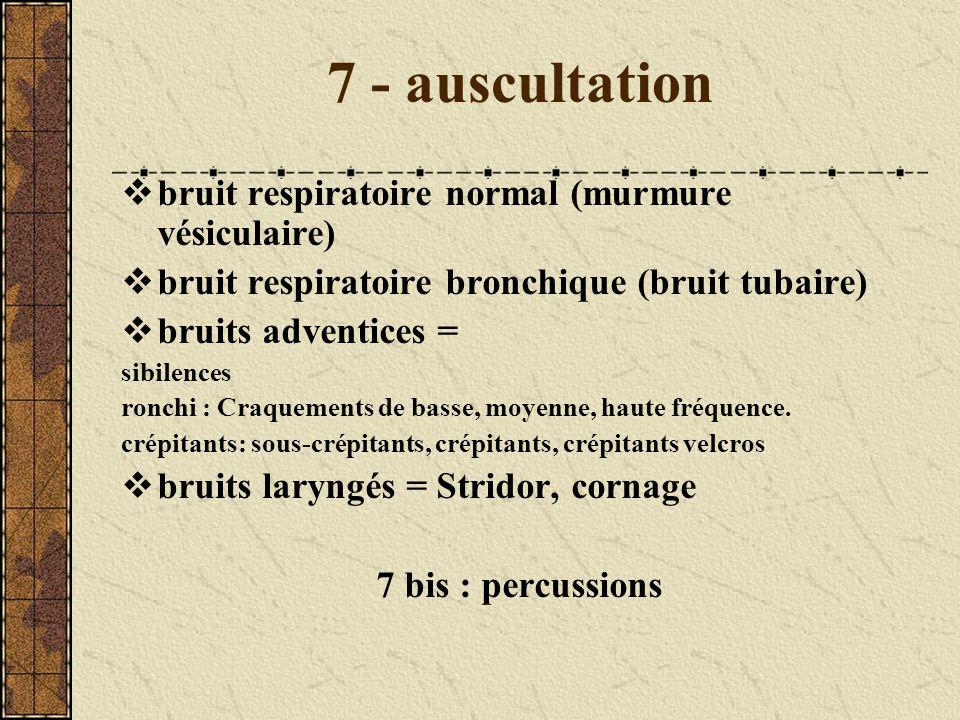 7 - auscultation bruit respiratoire normal (murmure vésiculaire)