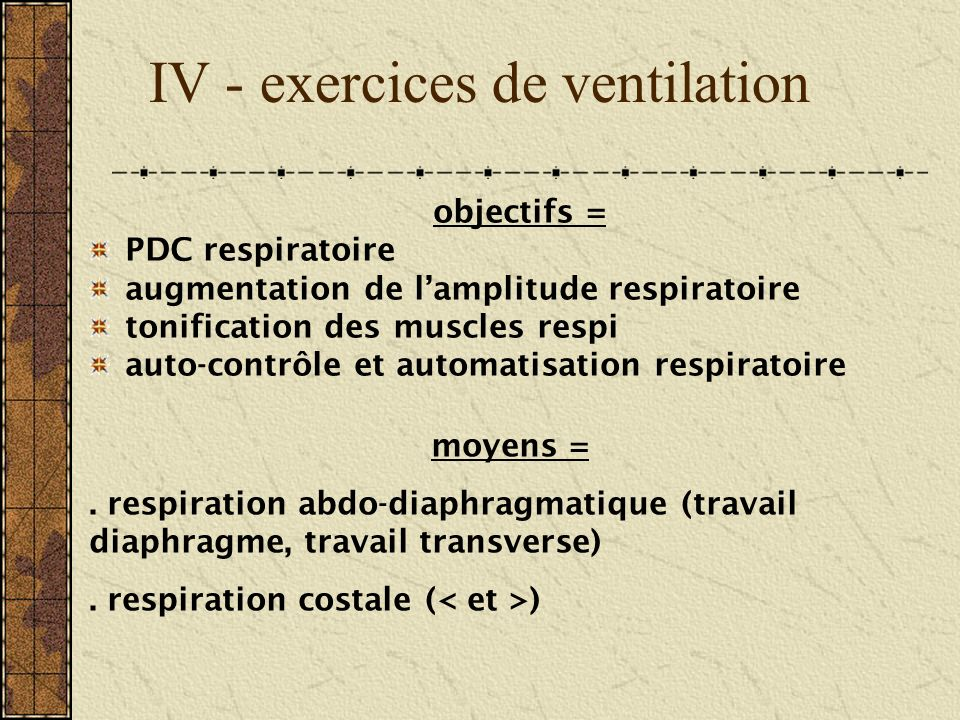 IV - exercices de ventilation