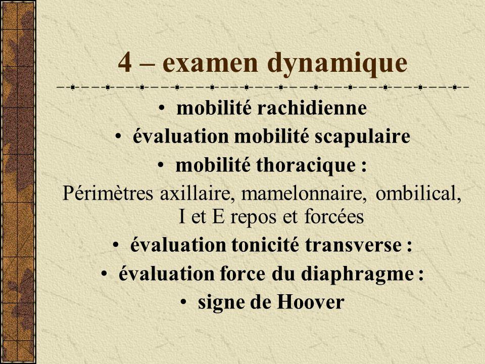 4 – examen dynamique mobilité rachidienne