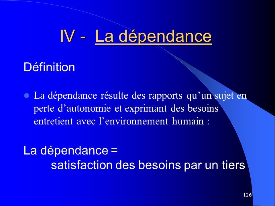 IV - La dépendance Définition