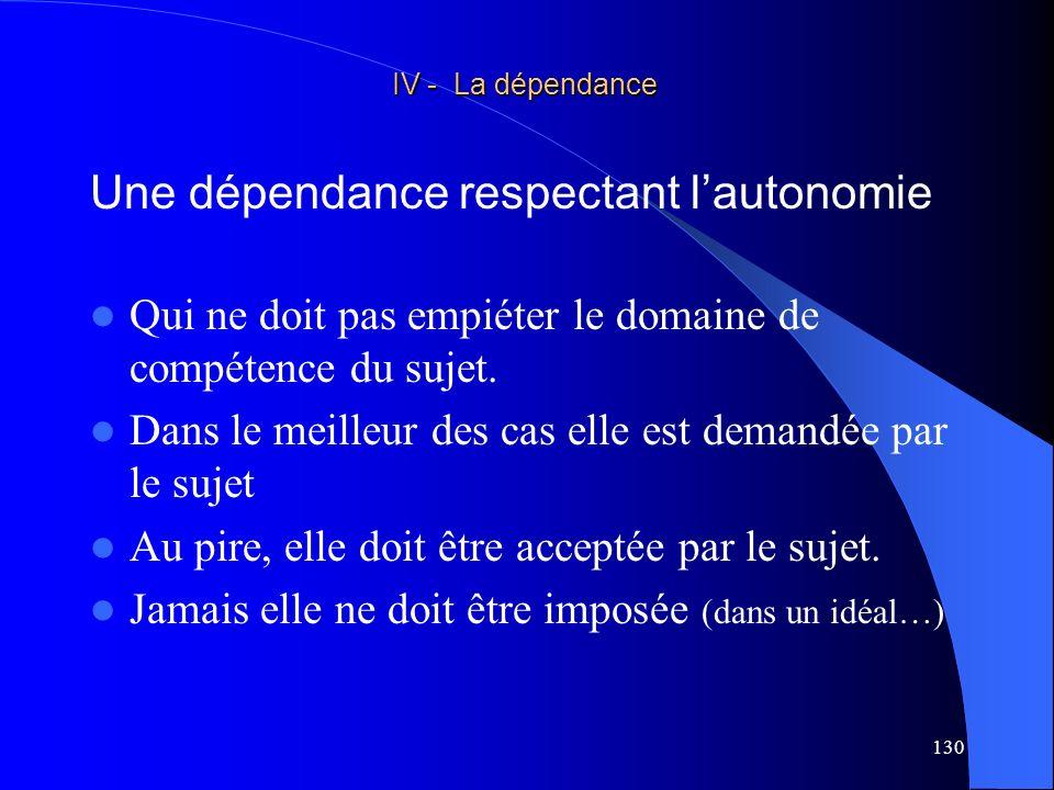 Une dépendance respectant l'autonomie