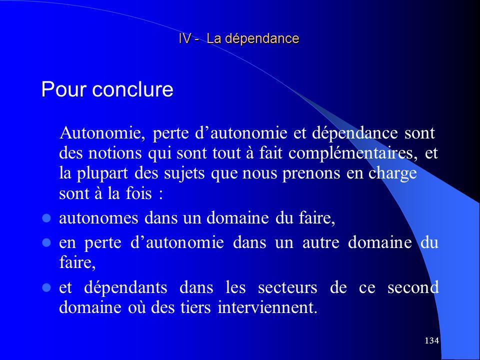 IV - La dépendance Pour conclure.