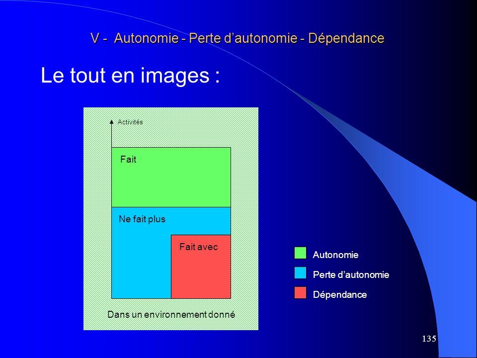 Le tout en images : V - Autonomie - Perte d'autonomie - Dépendance