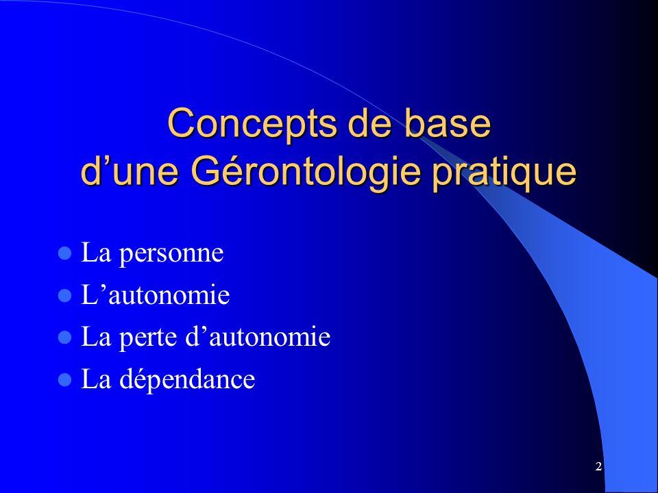 Concepts de base d'une Gérontologie pratique