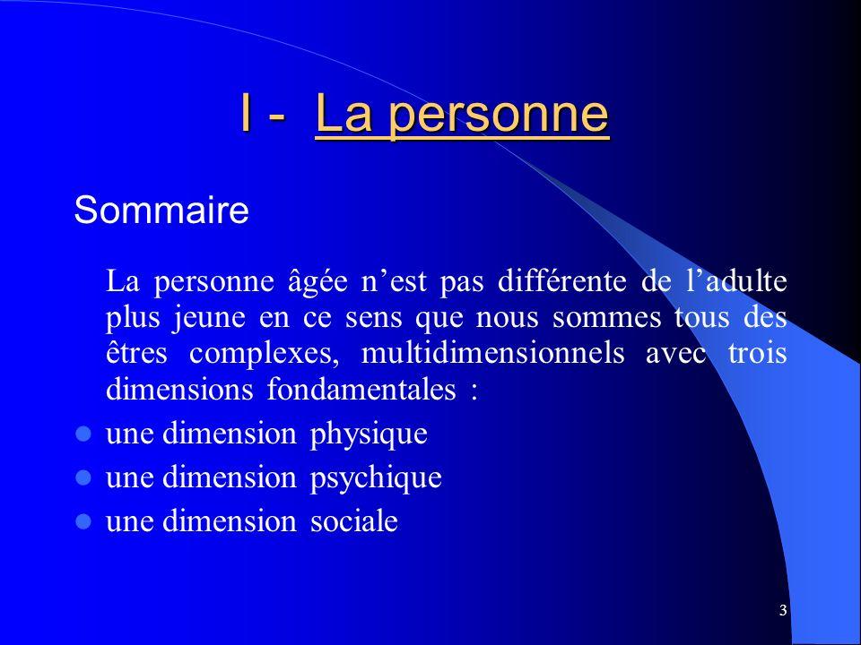 I - La personne Sommaire