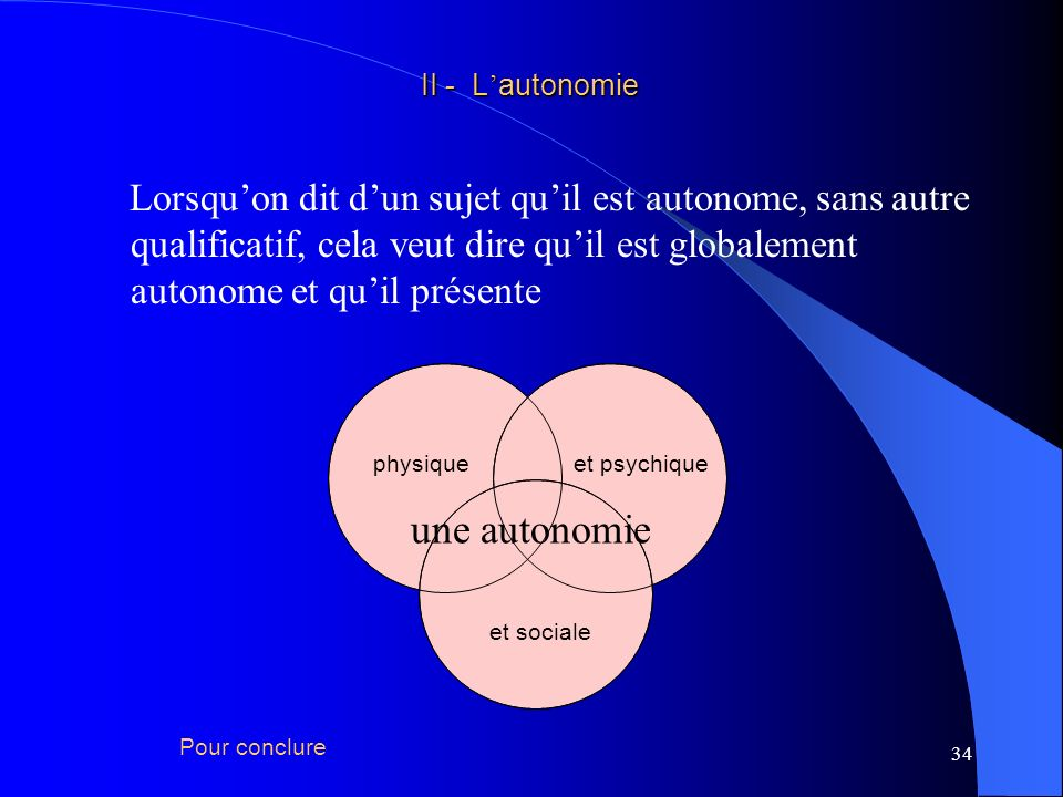 II - L'autonomie