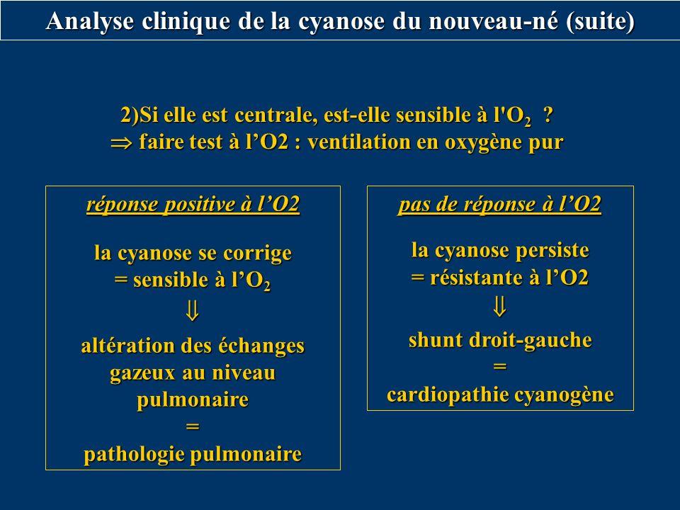 Analyse clinique de la cyanose du nouveau-né (suite)
