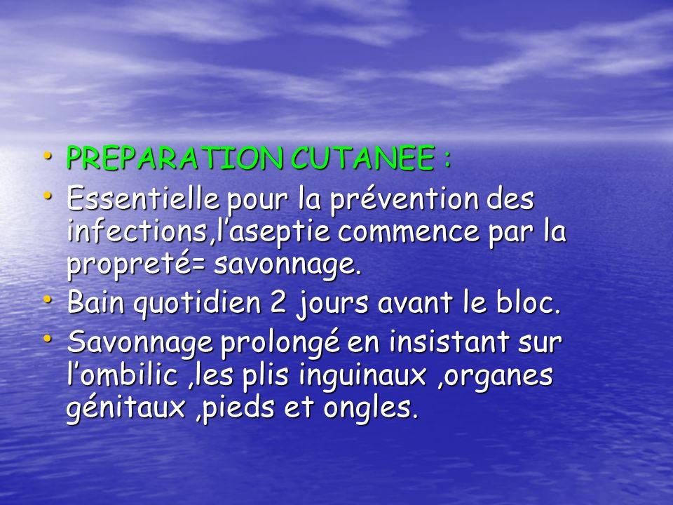 PREPARATION CUTANEE :Essentielle pour la prévention des infections,l'aseptie commence par la propreté= savonnage.