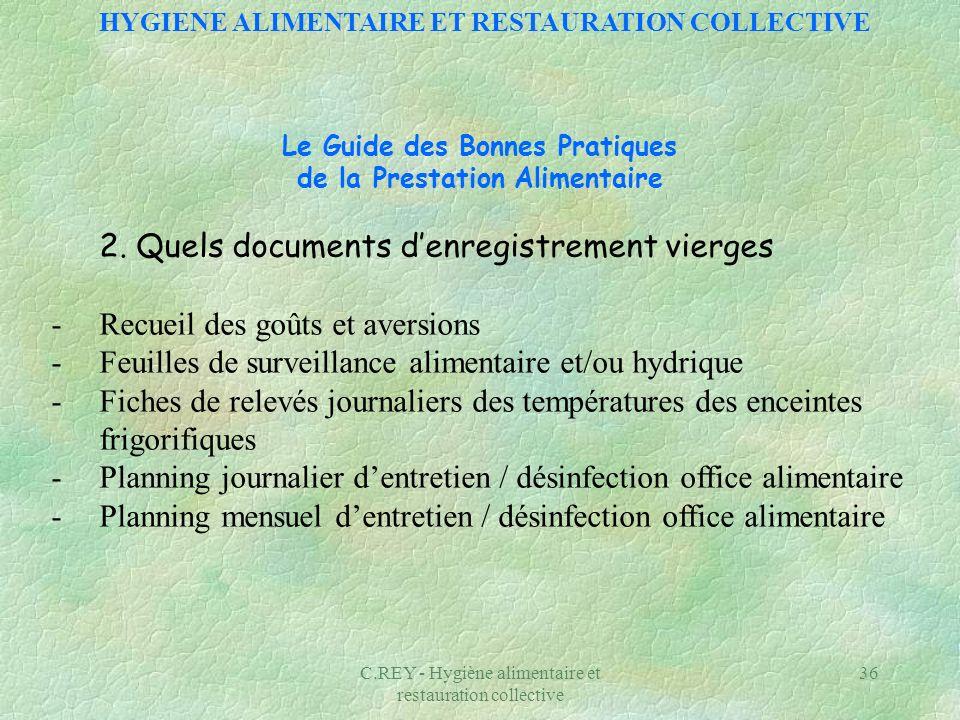 2. Quels documents d'enregistrement vierges