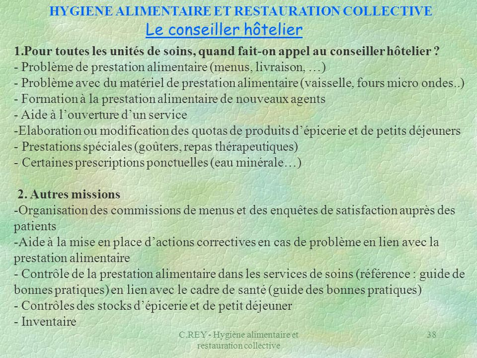 HYGIENE ALIMENTAIRE ET RESTAURATION COLLECTIVE