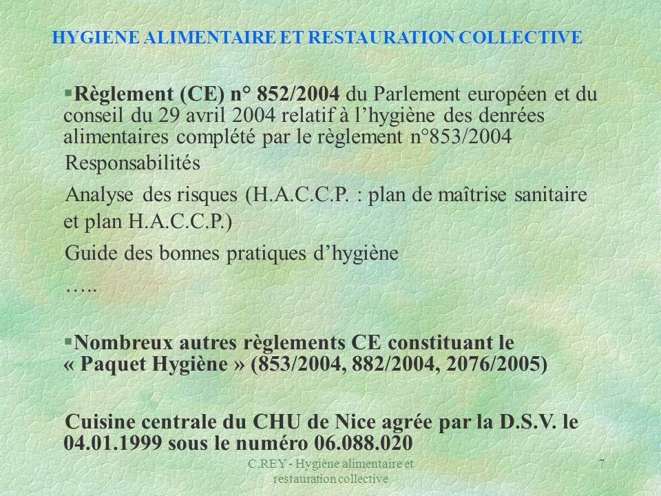 HYGIENE ALIMENTAIRE ET RESTAURATION COLLECTIVE
