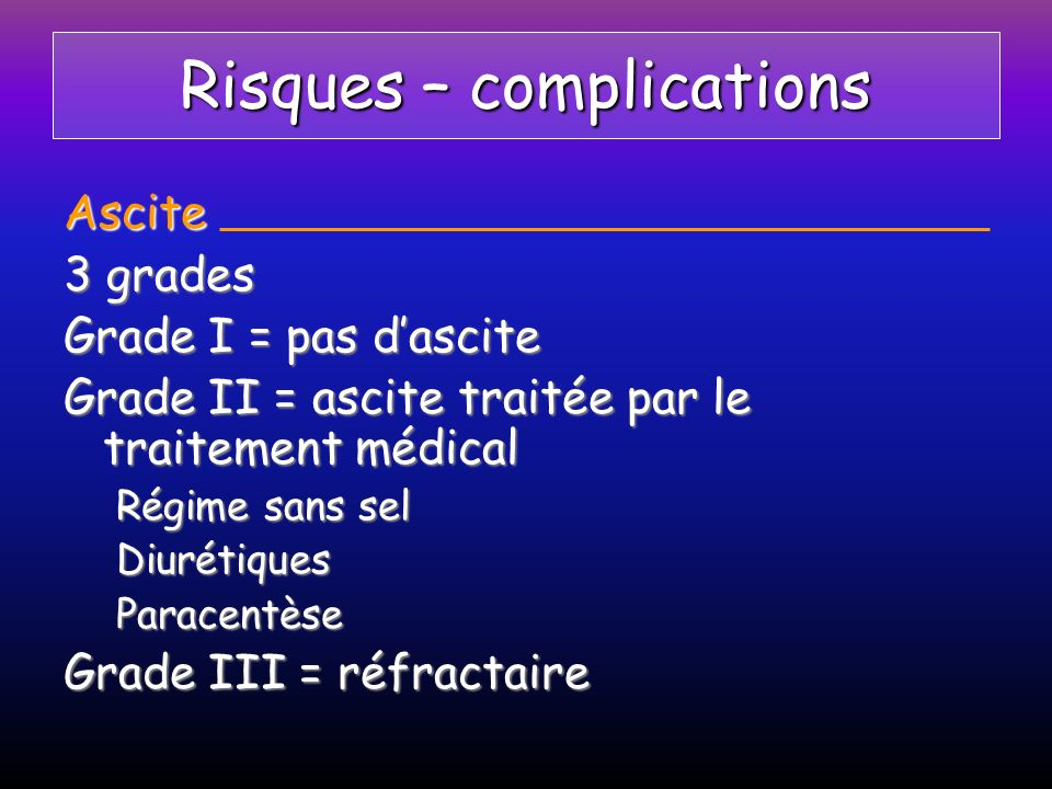 Risques – complications