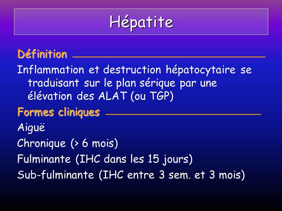Hépatite Définition. Inflammation et destruction hépatocytaire se traduisant sur le plan sérique par une élévation des ALAT (ou TGP)