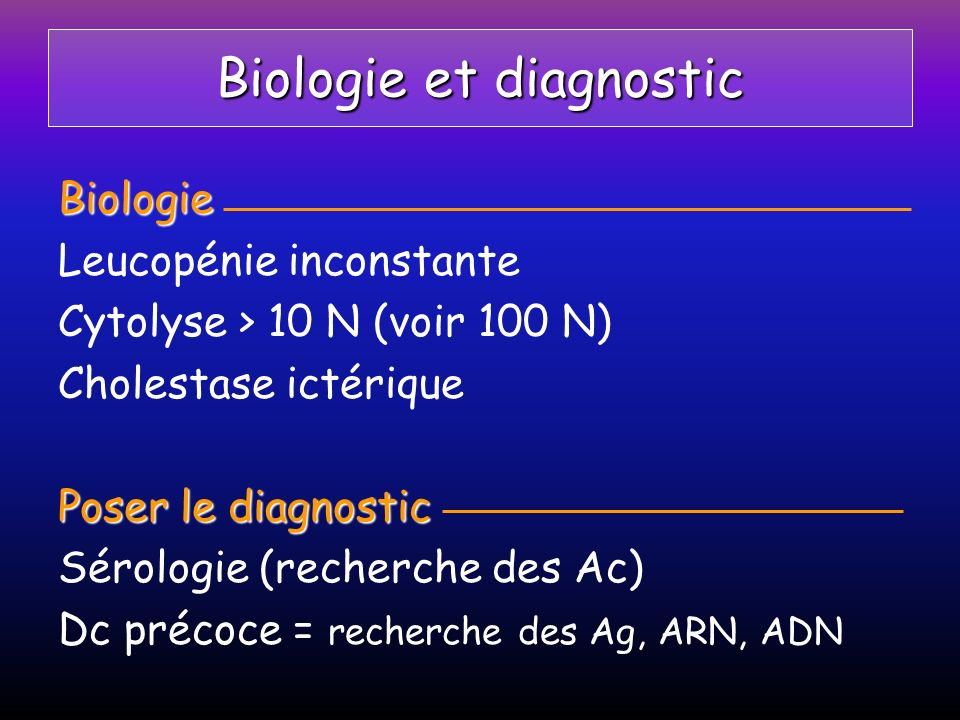 Biologie et diagnostic