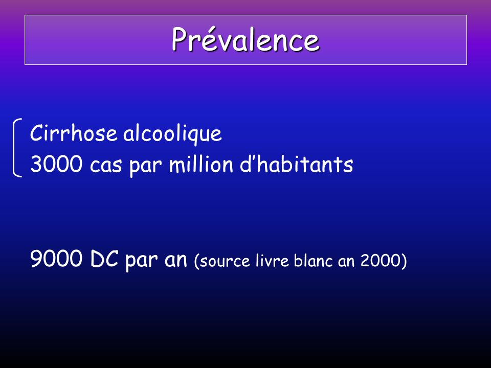 Prévalence Cirrhose alcoolique 3000 cas par million d'habitants