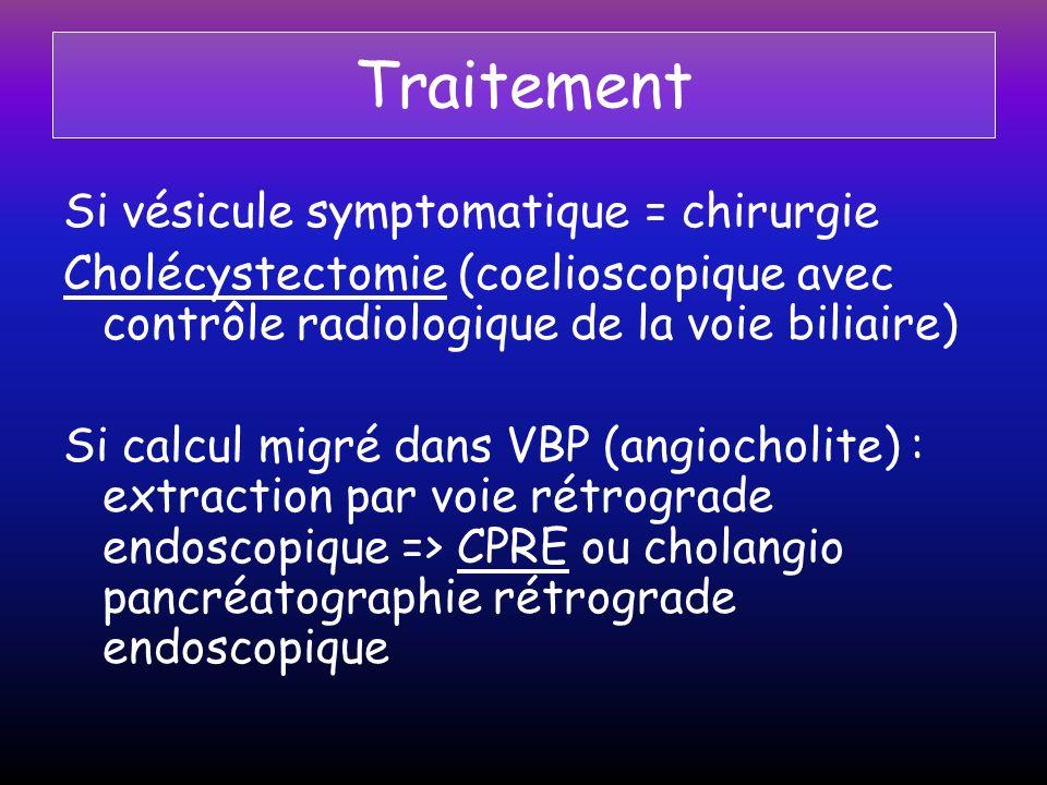 Traitement Si vésicule symptomatique = chirurgie