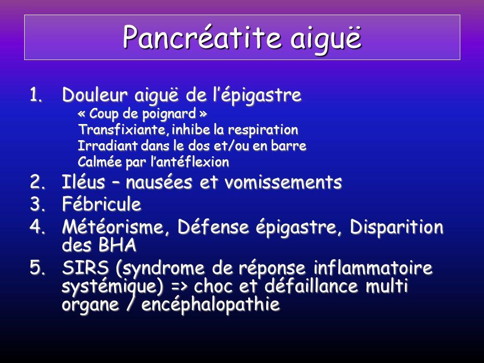 Pancréatite aiguë Douleur aiguë de l'épigastre