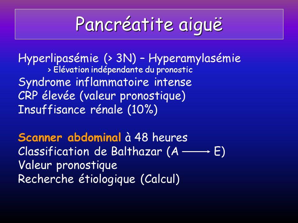 Pancréatite aiguë Hyperlipasémie (> 3N) – Hyperamylasémie