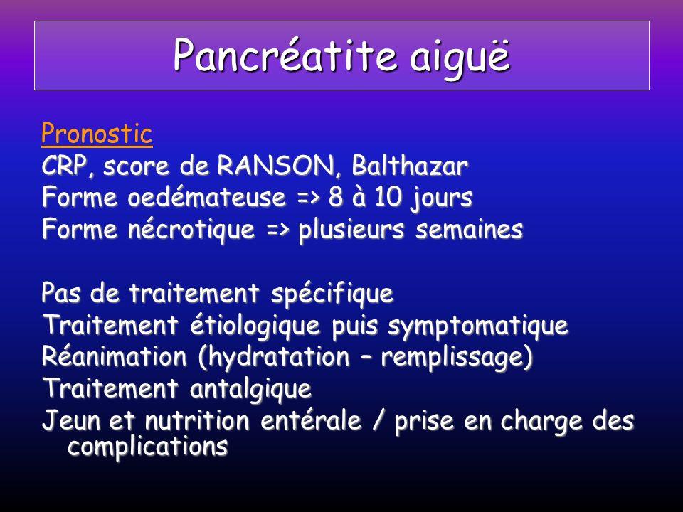 Pancréatite aiguë Pronostic CRP, score de RANSON, Balthazar