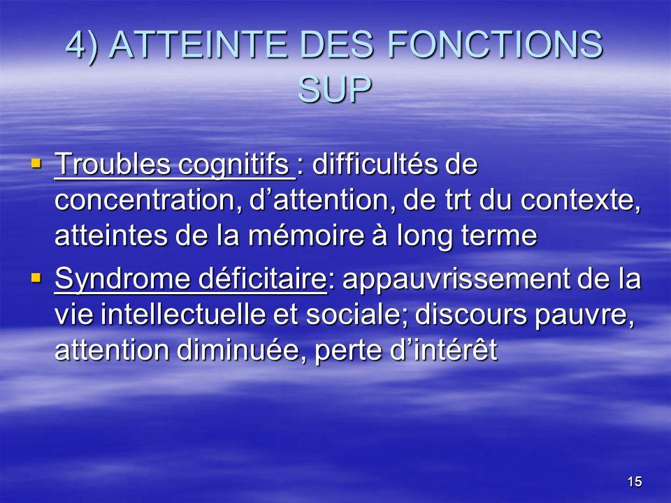 4) ATTEINTE DES FONCTIONS SUP