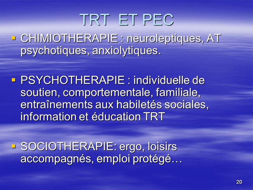 TRT ET PEC CHIMIOTHERAPIE : neuroleptiques, AT psychotiques, anxiolytiques.