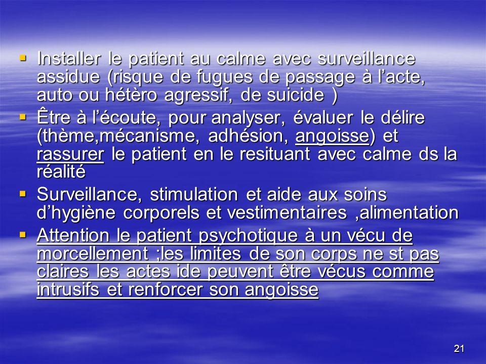 Installer le patient au calme avec surveillance assidue (risque de fugues de passage à l'acte, auto ou hétèro agressif, de suicide )