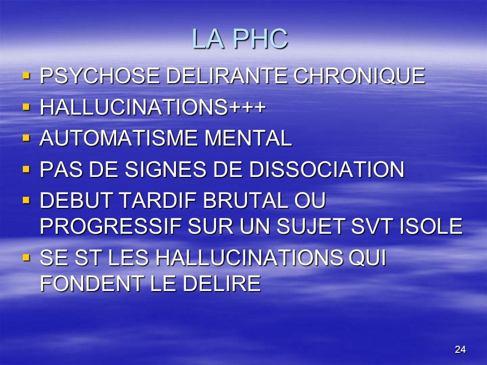 LA PHC PSYCHOSE DELIRANTE CHRONIQUE HALLUCINATIONS+++