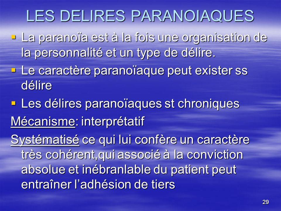LES DELIRES PARANOIAQUES