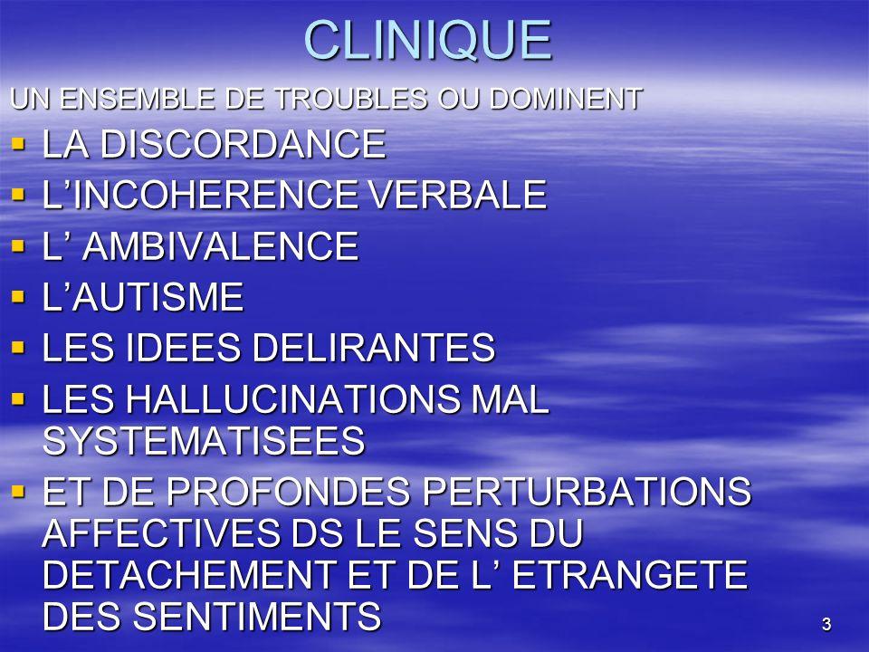 CLINIQUE LA DISCORDANCE L'INCOHERENCE VERBALE L' AMBIVALENCE L'AUTISME