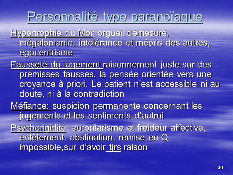 Personnalité type paranoïaque