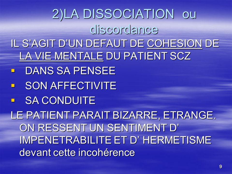 2)LA DISSOCIATION ou discordance
