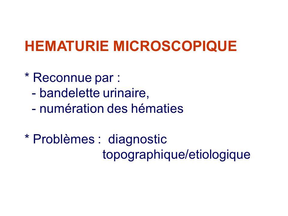 HEMATURIE MICROSCOPIQUE
