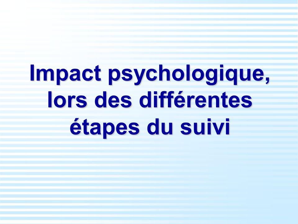 Impact psychologique, lors des différentes étapes du suivi