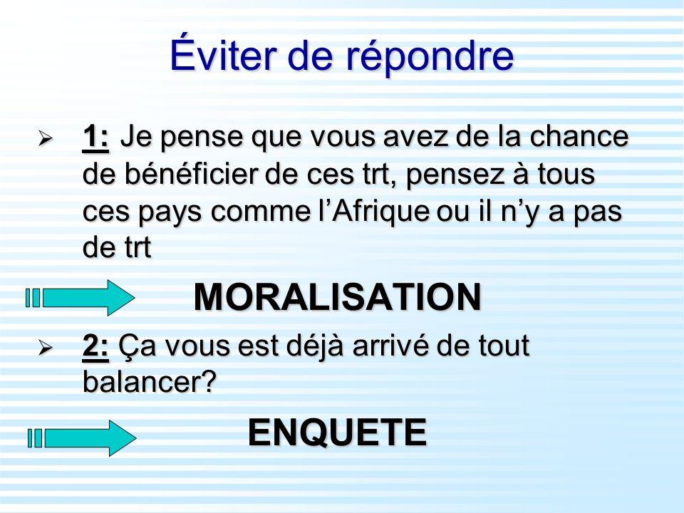 Éviter de répondre MORALISATION ENQUETE
