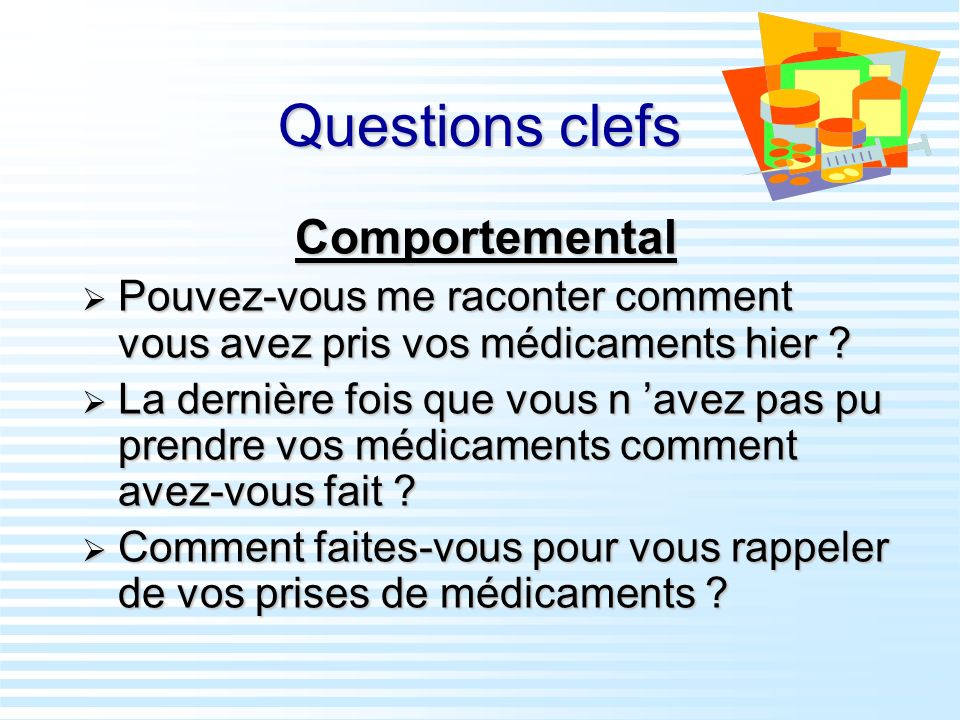 Questions clefs Comportemental
