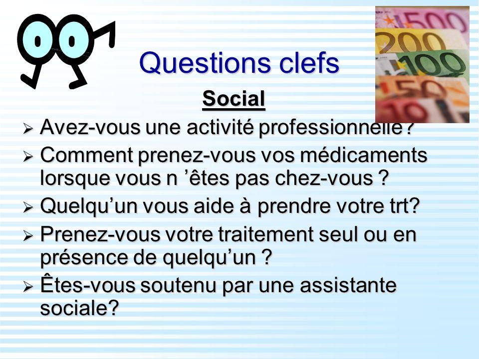 Questions clefs Social Avez-vous une activité professionnelle