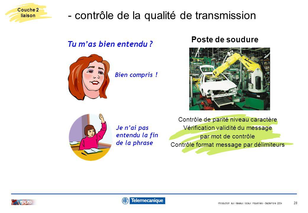 - contrôle de la qualité de transmission