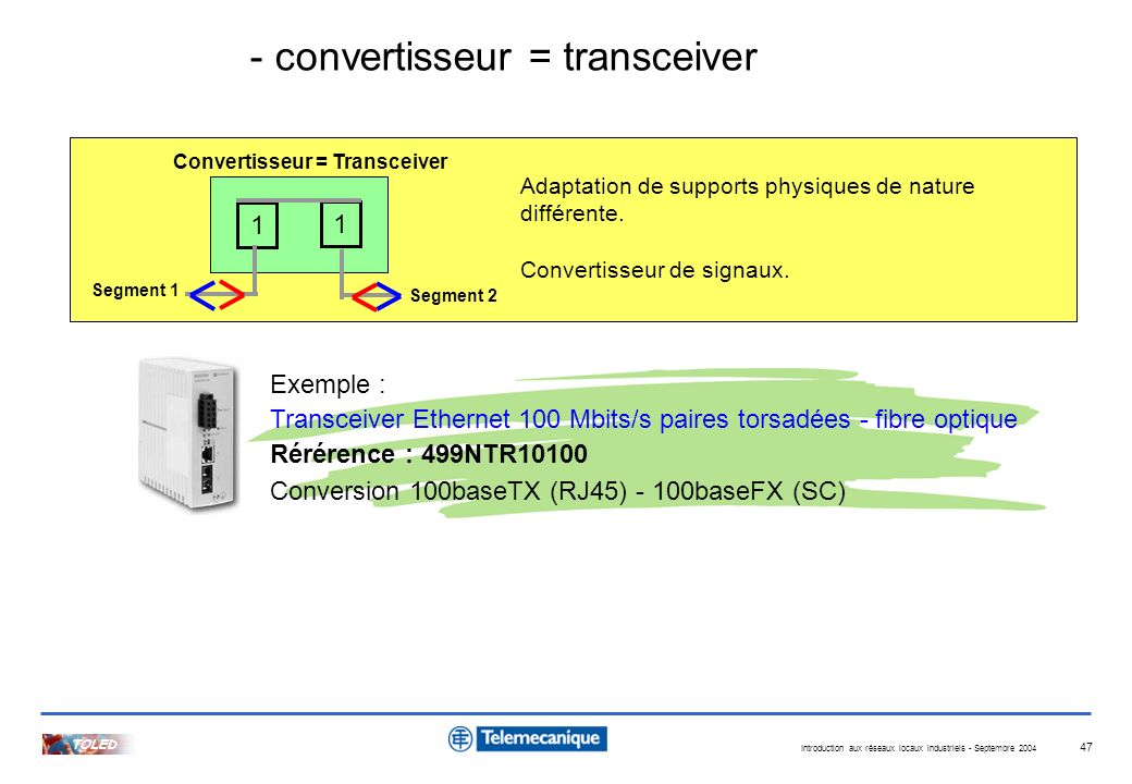 - convertisseur = transceiver
