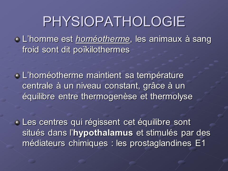 PHYSIOPATHOLOGIE L'homme est homéotherme, les animaux à sang froid sont dit poïkilothermes.