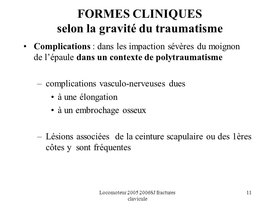 FORMES CLINIQUES selon la gravité du traumatisme
