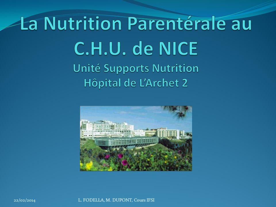 La Nutrition Parentérale au C. H. U