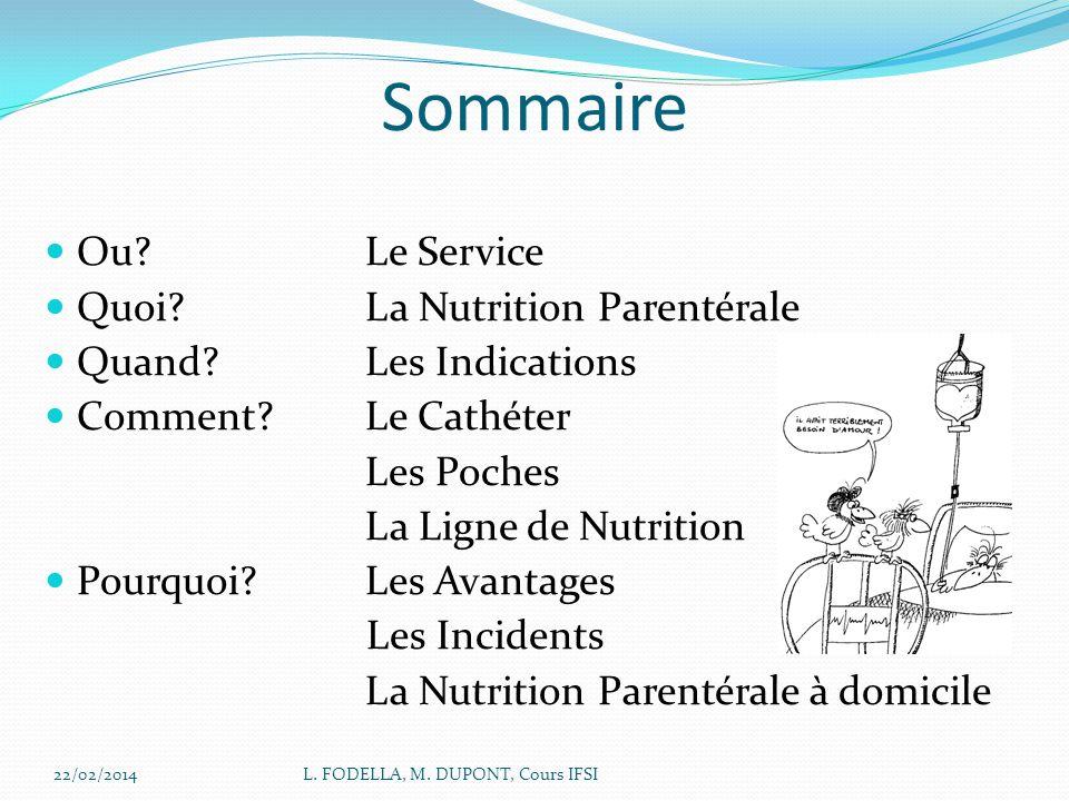 Sommaire Ou Le Service Quoi La Nutrition Parentérale