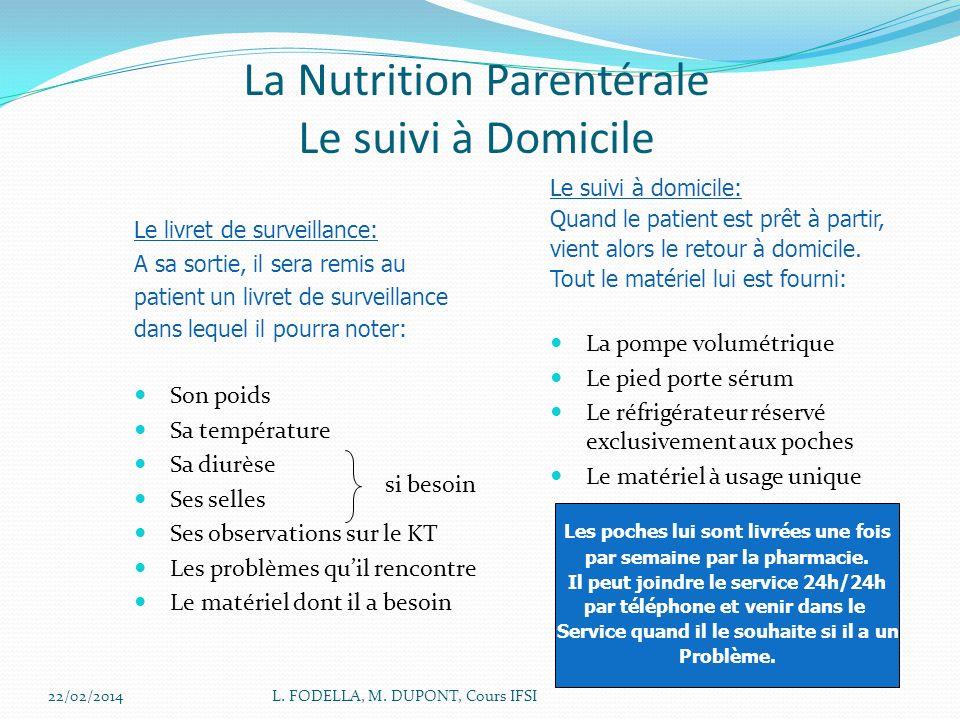 La Nutrition Parentérale Le suivi à Domicile