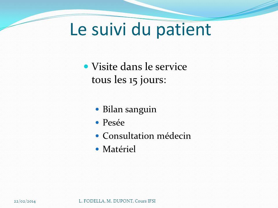 Le suivi du patient Visite dans le service tous les 15 jours: