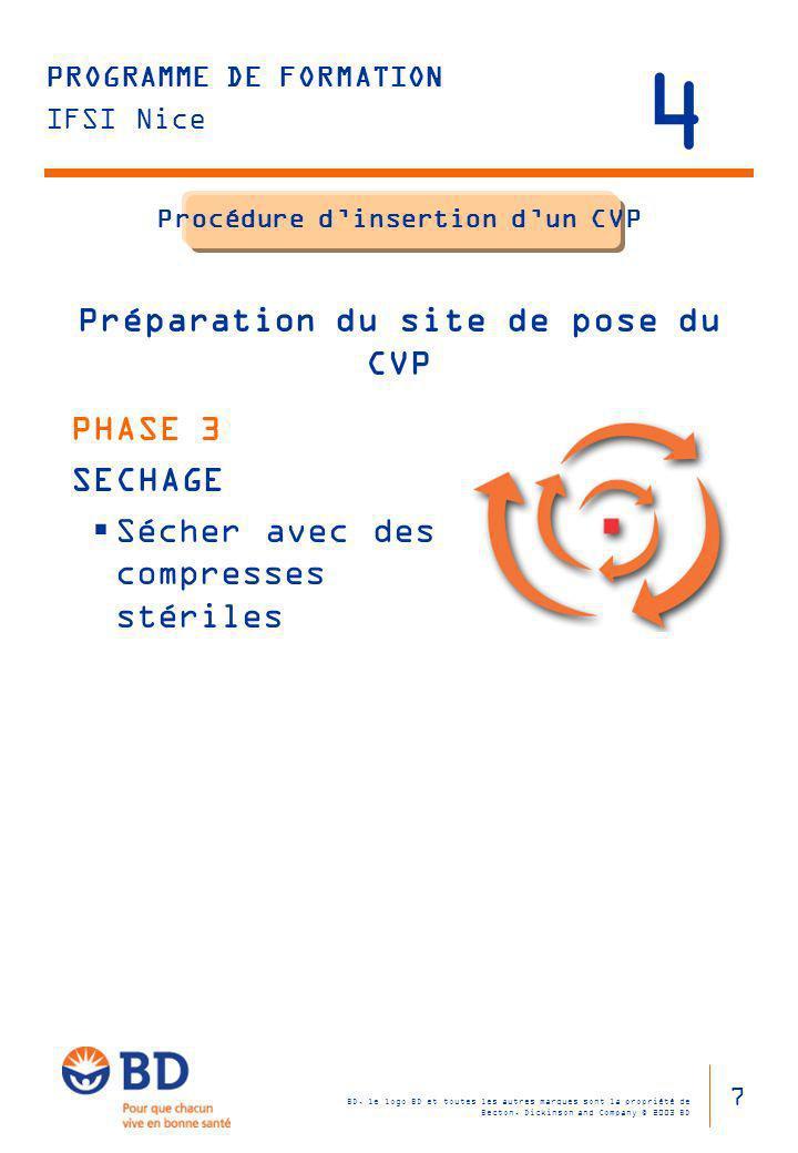 Procédure d'insertion d'un CVP Préparation du site de pose du CVP