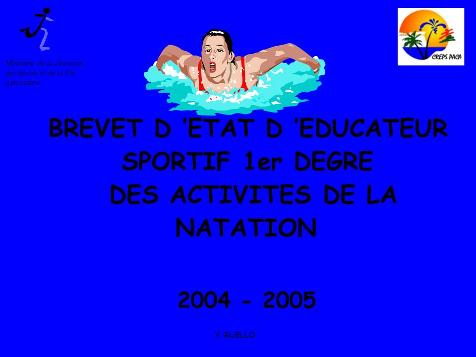 BREVET D 'ETAT D 'EDUCATEUR SPORTIF 1er DEGRE DES ACTIVITES DE LA