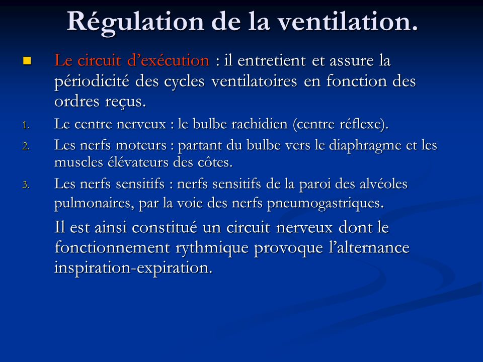 Régulation de la ventilation.