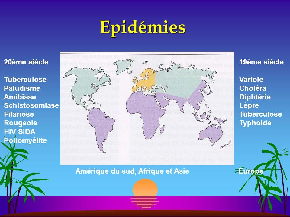 Epidémies 20ème siècle Tuberculose Paludisme Amibiase Schistosomiase