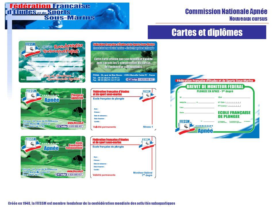 Cartes et diplômes Commission Nationale Apnée Nouveaux cursus