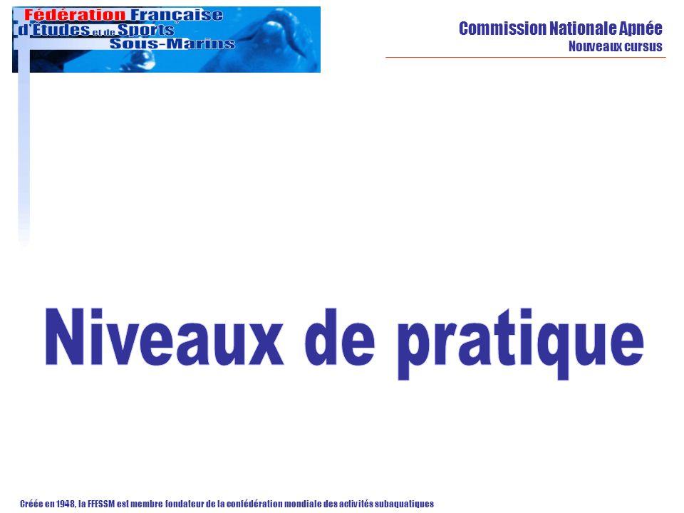 Niveaux de pratique Commission Nationale Apnée Nouveaux cursus